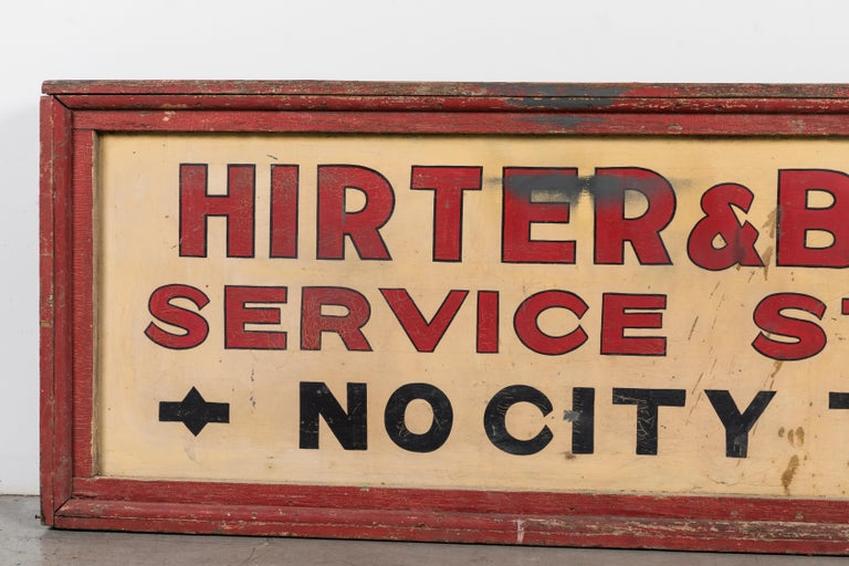 Vintage American Service Station Wood Sign Original Red Paint For Sale 5