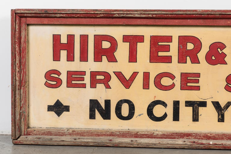 Substantial wood service station sign with original paint surface. No tax! Nice original thick wood frame. Great conversation art piece. Super bold graphic letters that appear to have been painted by a professional sign painter. Found in the