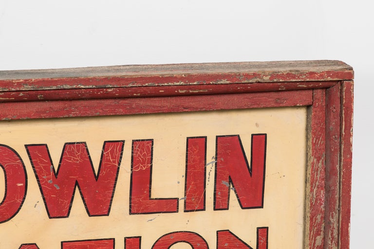 Folk Art Vintage American Service Station Wood Sign Original Red Paint For Sale