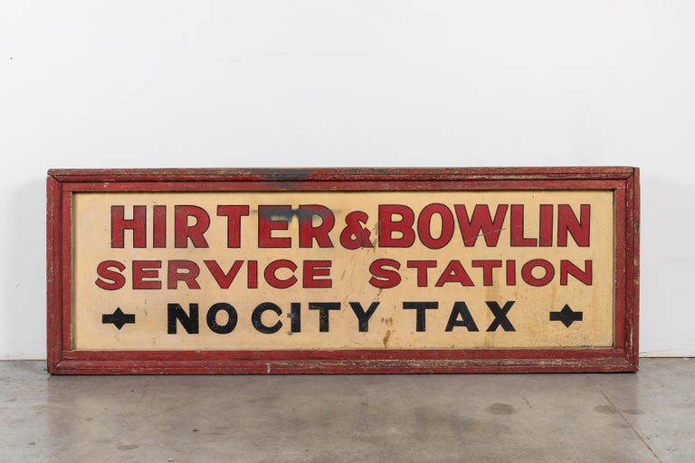Vintage American Service Station Wood Sign Original Red Paint For Sale 3