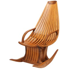 Vintage American Studio Craft Rocking Chair in the Style of Edward G. Livingston