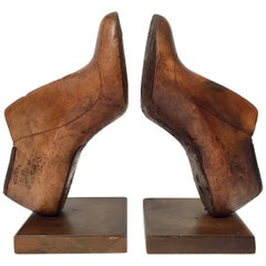 Vintage American Wood Shoe Molds by Western & Co Saint Louis Bookends