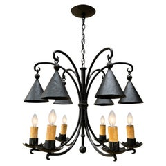 Vintage American Wrought Iron Six-Arm Chandelier