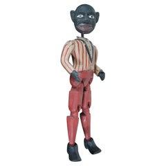 Vintage Americana Folk Art Jointed Wood Puppet Toy Clog Jig Dancer Minstrel