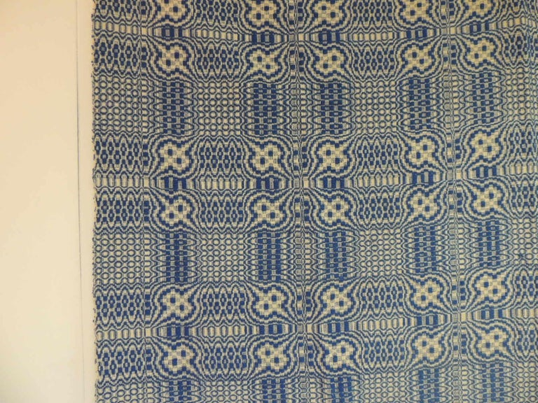Shaker Vintage Americana Style Blue and White Woven Coverlet For Sale
