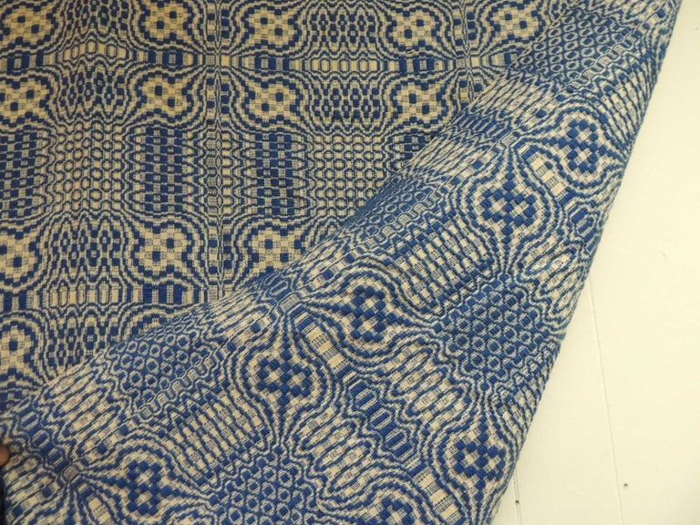 Wool Vintage Americana Style Blue and White Woven Coverlet For Sale