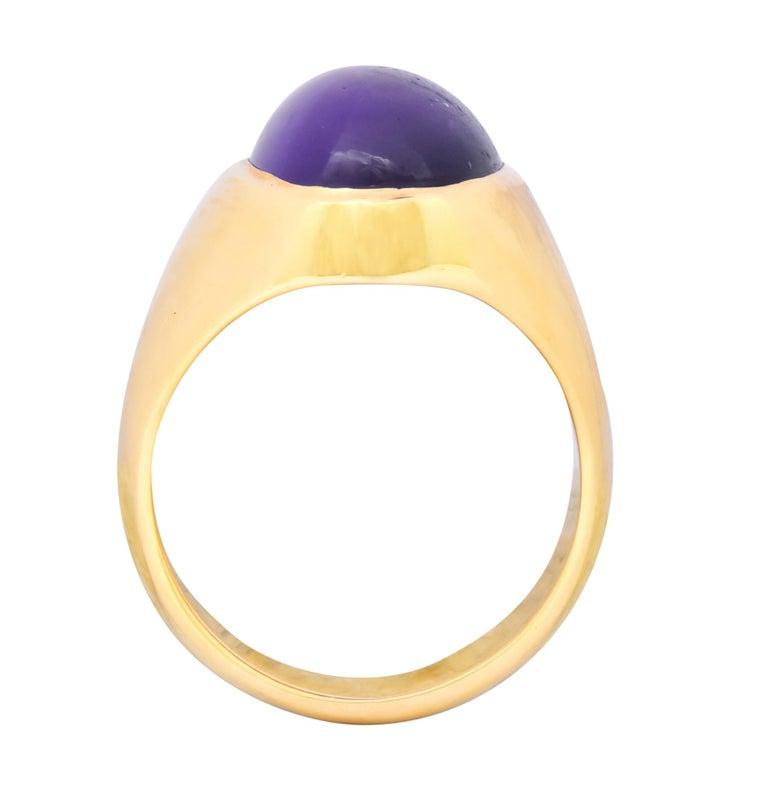 Vintage Amethyst 14 Karat Gold Cabochon Unisex Ring For Sale 1