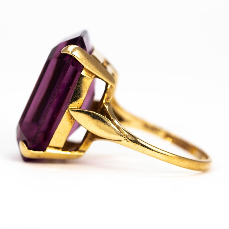 Modern Vintage Amethyst and 9 Carat Gold Cocktail Ring For Sale