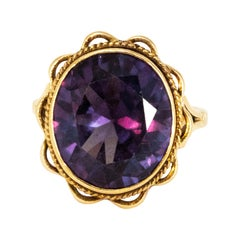 Vintage Amethyst and 9 Carat Gold Cocktail Ring