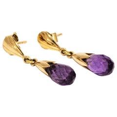 Vintage Amethyst and 9 Carat Gold Drop Earrings