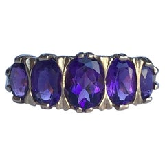 Vintage Amethyst and 9 Carat Gold Five-Stone Ring