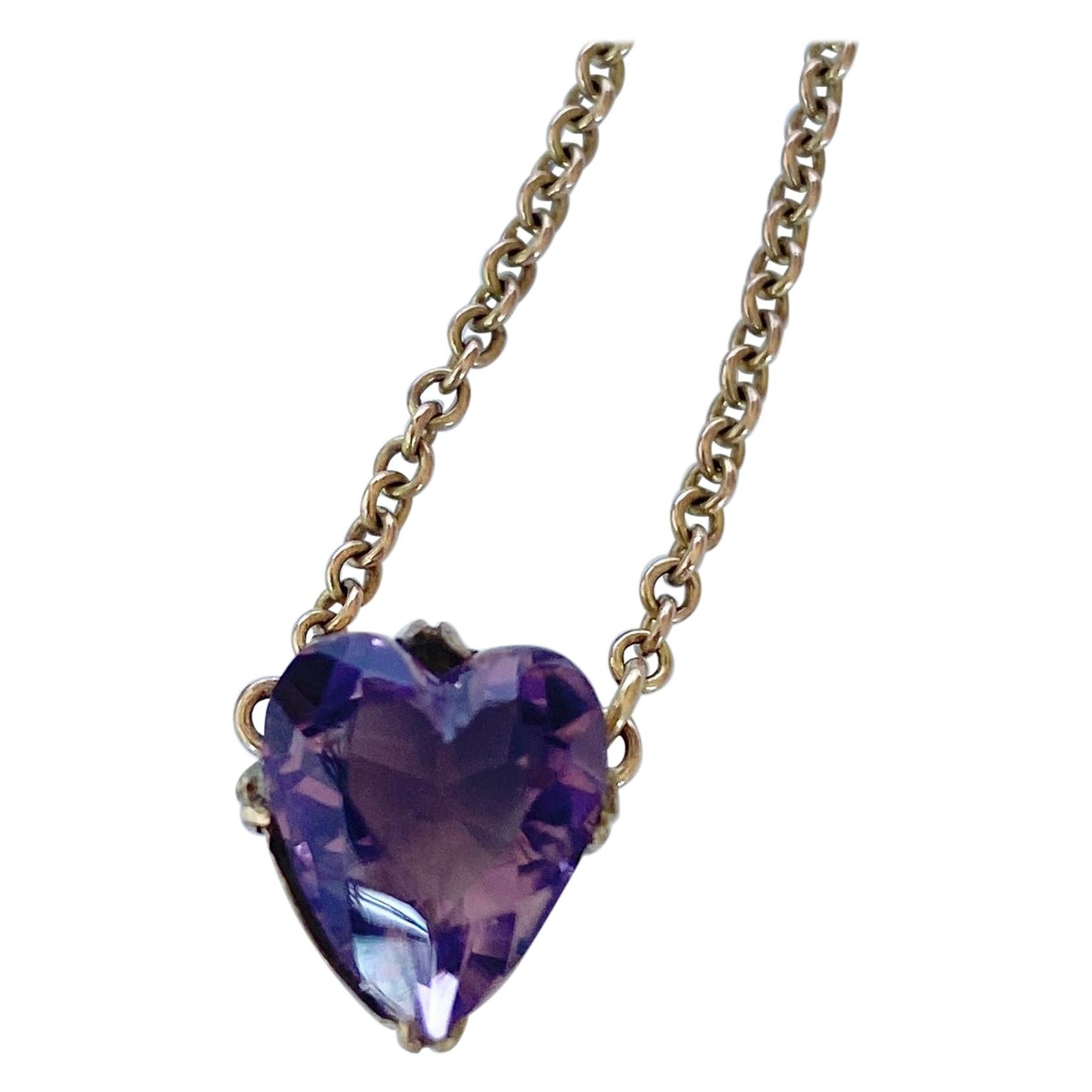 Vintage Amethyst and 9 Carat Gold Heart Pendant Necklace