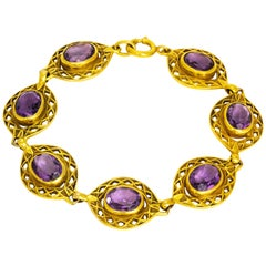 Vintage Amethyst and 9 Carat Gold Ornate Bracelet