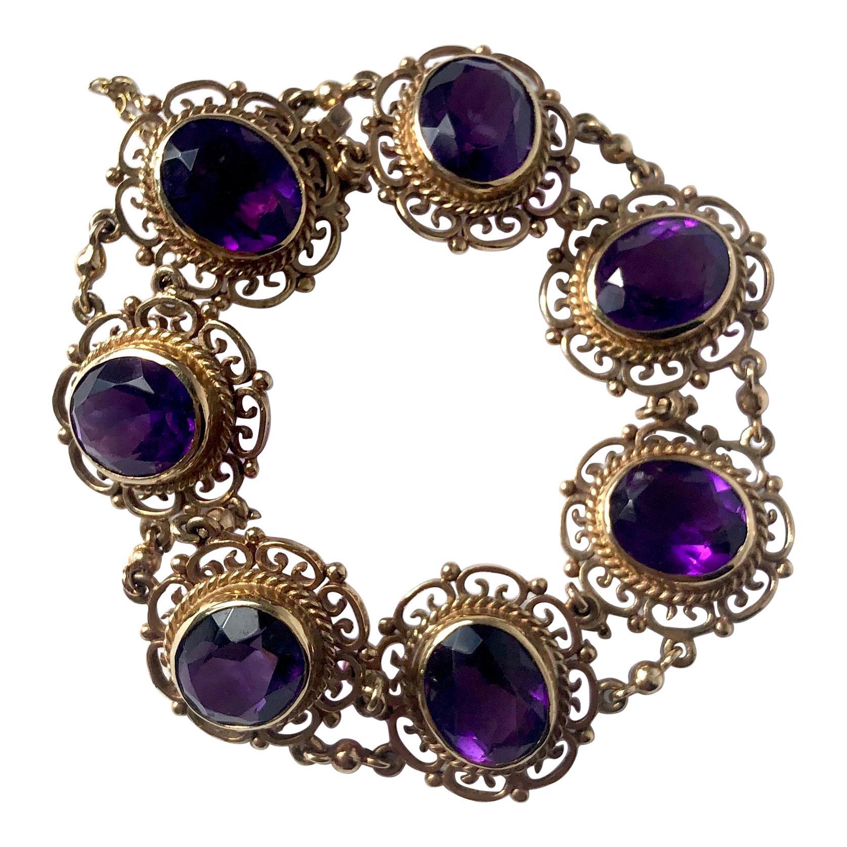 Vintage Amethyst and 9 Carat Gold Ornate Bracelet