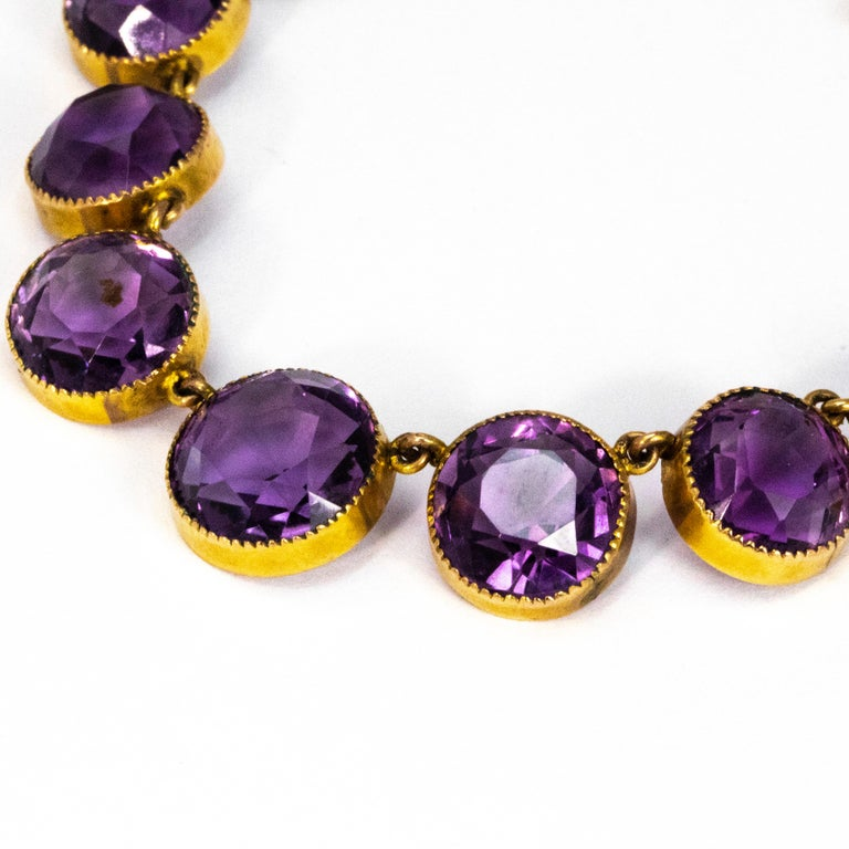 Modern Vintage Amethyst and 9 Carat Gold Riviere For Sale