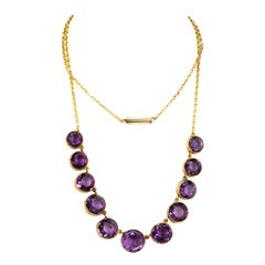 Vintage Amethyst and 9 Carat Gold Riviere