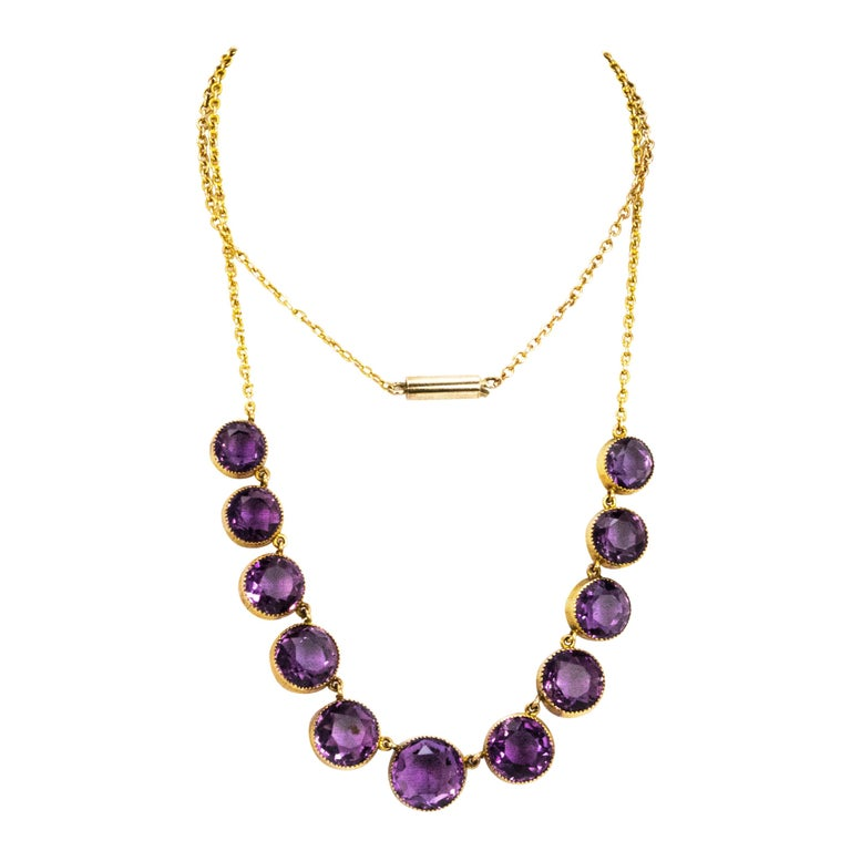 Vintage Amethyst and 9 Carat Gold Riviere For Sale