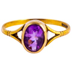 Vintage Amethyst and 9 Carat Gold Signet Ring