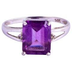 Vintage Amethyst and Diamond 14 Carat White Gold Ring