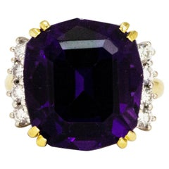 Vintage Amethyst and Diamond 18 Carat Cocktail Ring