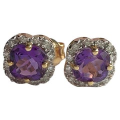 Vintage Amethyst and Diamond 18 Carat Gold Cluster Stud Earrings