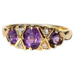 Vintage Amethyst and Diamond 18 Carat Gold Three-Stone Ring