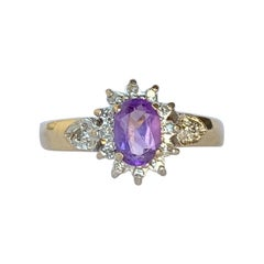 Vintage Amethyst and Diamond 9 Carat Gold Cluster Ring