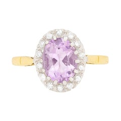 Vintage Amethyst and Diamond Cluster Ring, circa 1970s