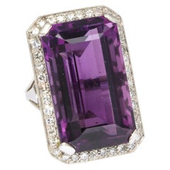 Vintage Amethyst and Diamond Black Starr and Frost Platinum Ring