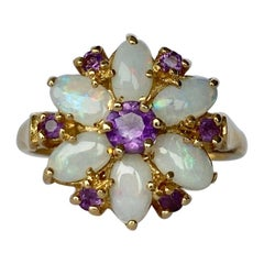 Vintage Amethyst and Opal 14 Carat Gold Cluster Ring
