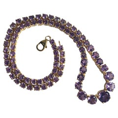 Vintage Amethyst and Silver Gilt Riviere Necklace
