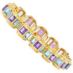 Vintage Amethyst Blue Topaz 14 Karat Gold Link Bracelet