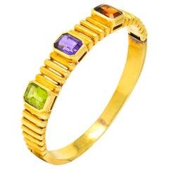 Vintage Amethyst Citrine Peridot 18 Karat Gold Bangle Bracelet