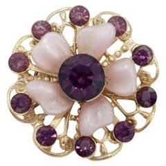 Vintage Amethyst Crystal Flower Pin Brooch, Lilac Petals