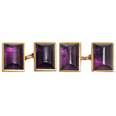 Vintage Amethyst Cufflinks in 9 Carat Gold with Close Back Setting, English 1997