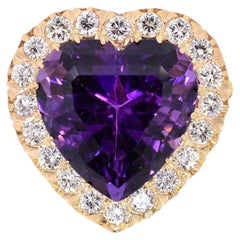 Vintage Amethyst Diamond Gold Brooch