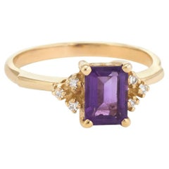 Vintage Amethyst Diamond Ring 14 Karat Gold Small Cocktail Estate Jewelry