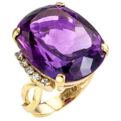 Vintage Amethyst Diamond Yellow Gold Cocktail Ring