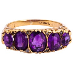 Vintage Amethyst Five-Stone with Diamond Points Modelled in 9 Carat Gold