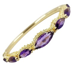 Vintage Amethyst Hinged Bangle