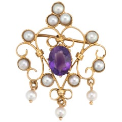 Vintage Amethyst Pearl Pendant 14 Karat Gold Brooch Pin Estate Fine Jewelry