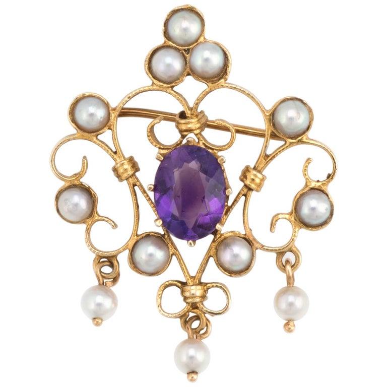 Vintage Amethyst Pearl Pendant 14 Karat Gold Brooch Pin ...