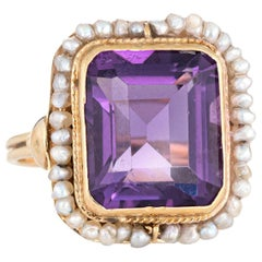 Vintage Amethyst Seed Pearl Ring 14 Karat Yellow Gold Square Cocktail Jewelry