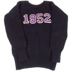 Vintage Amherst College Class of 1952 Black Sweater
