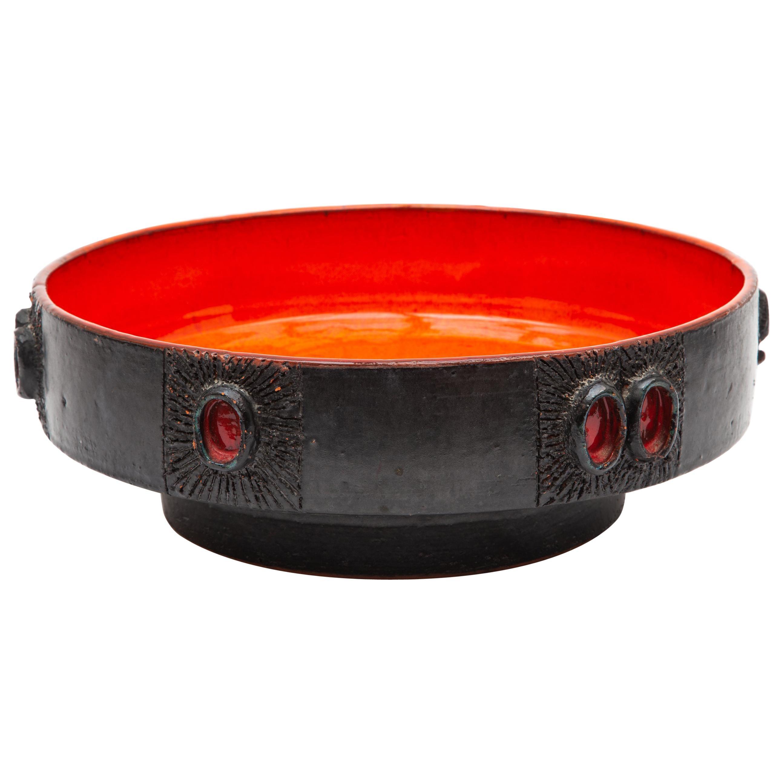 Vintage Amphora Red Glazed Ceramic Bowl Designed by Rogier Vandeweghe, 1960s