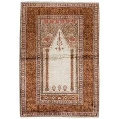 Vintage Anatolian Art Silk Prayer Rug