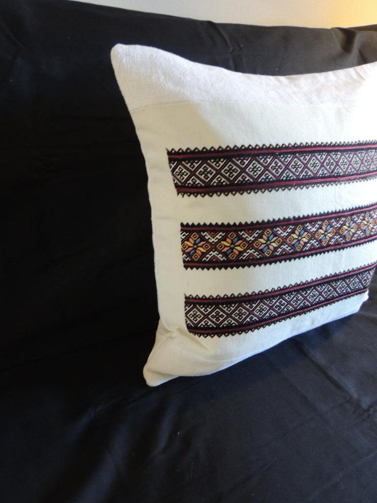 Moorish Vintage Anatolian Embroidery Square Red and Orange Square Decorative Pillow For Sale