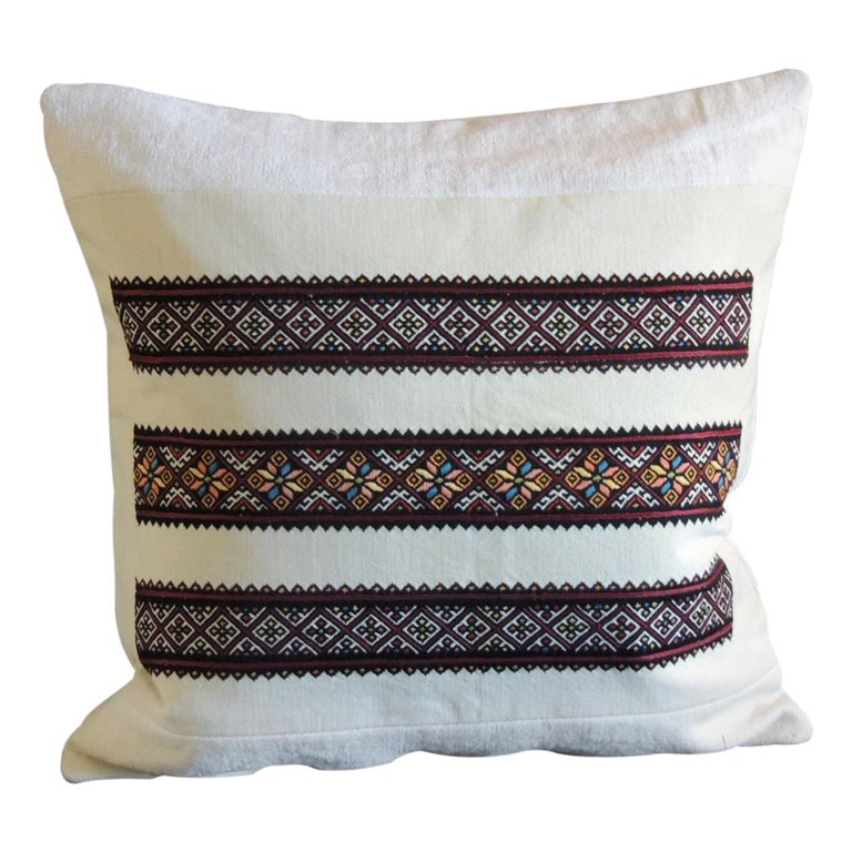 Vintage Anatolian Embroidery Square Red and Orange Square Decorative Pillow For Sale