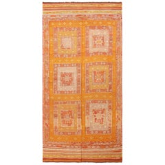 Vintage Anatolian Geometric Golden Yellow Wool Kilim Rug