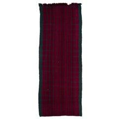 Vintage Anatolian Kilim Runner in Dark Red and Dark Green, 100% Wool